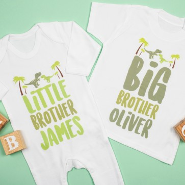 Personalised Big Brother Little Brother Dinosaur Set