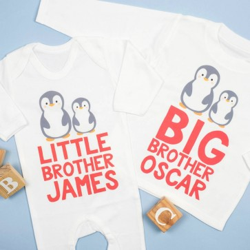 Personalised Penguin Big And Little Sibling Set