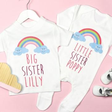 Personalised Big Sister Little Sister Rainbow Sibling Set