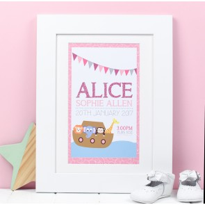 Personalised Animal Ark Birth Print