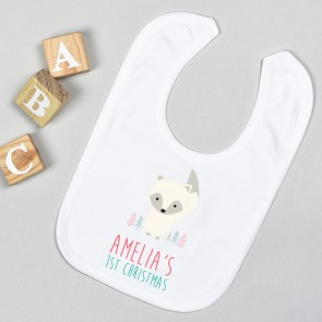 Personalised First Christmas Arctic Fox Bib