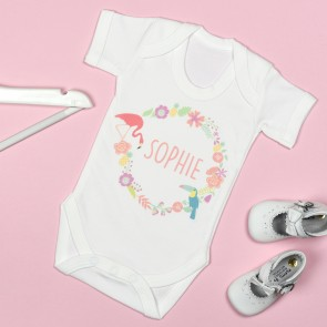 Personalised Tropical Circle Bodysuit