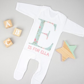 Personalised Floral Initial Babygrow