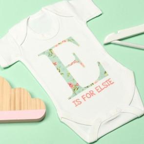 Personalised Floral Letter Bodysuit