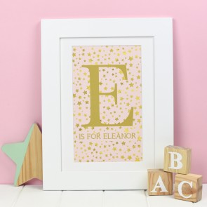 Personalised Gold Star Letter Print