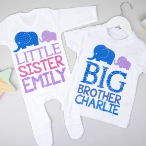 Personalised Big Brother Little Sister Set