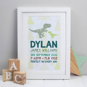Personalised Dinosaur Birth Print
