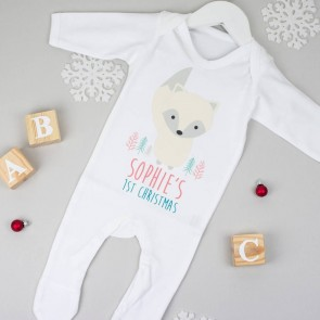 Personalised First Christmas Arctic Fox Babygrow