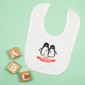 Personalised First Christmas Penguin Bib