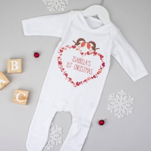 Personalised First Christmas Robin Babygrow