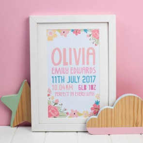 Personalised Floral Birth Print