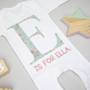 Personalised Floral Letter Babygrow