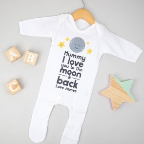 Personalised I Love You To The Moon Babygrow