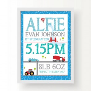 Personalised Transport Birth Print